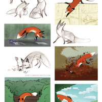 Pencils and Stories Fox character
