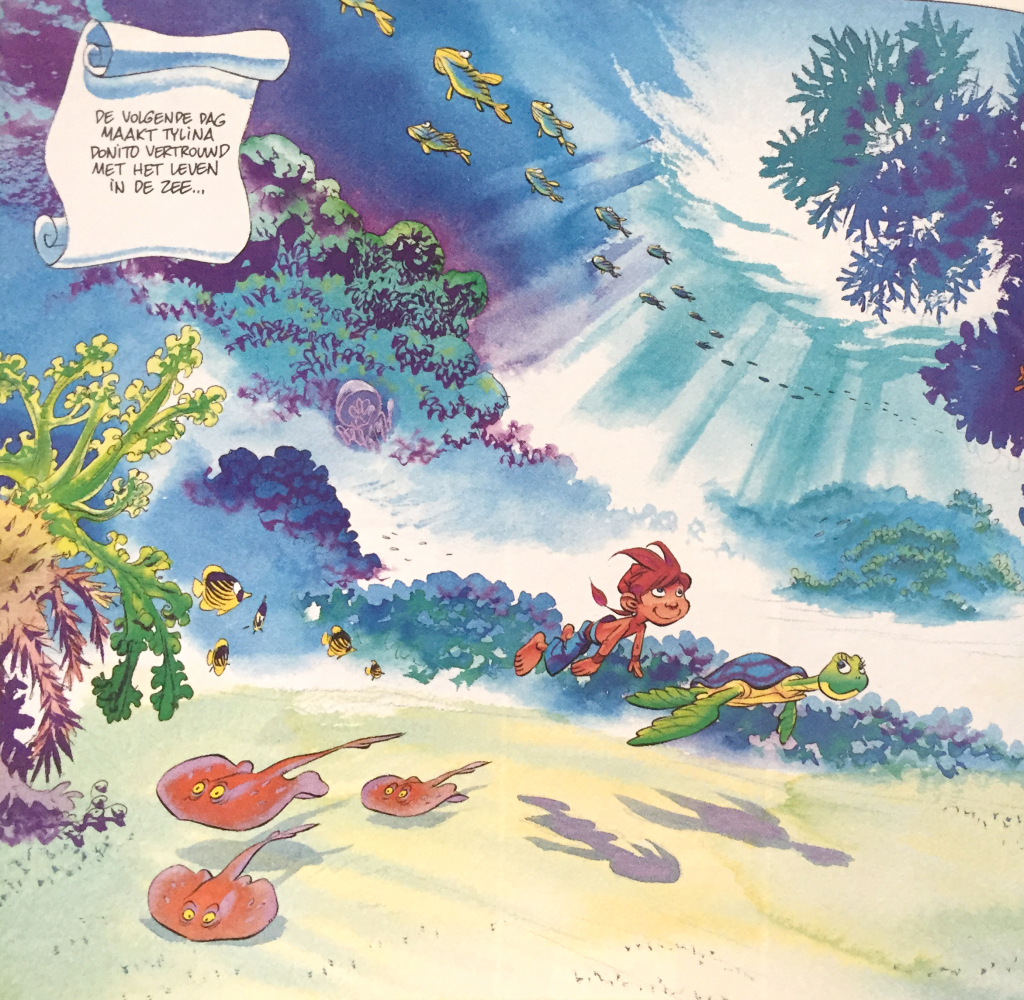 A panel from the watercolor comic Donito, made by Conrad.