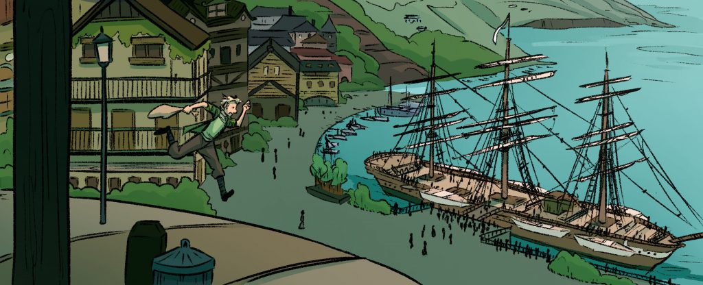 Finished panel from my webcomic Recollection City, Robbie running to catch his boat. The end result of the comic is digitally made