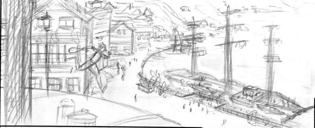 Sketch from my webcomic Recollection City, Robbie is running to a boat, made in pencil.